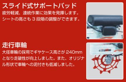 田面ライダーV3の車輪は独自形状で泥付きを低減。